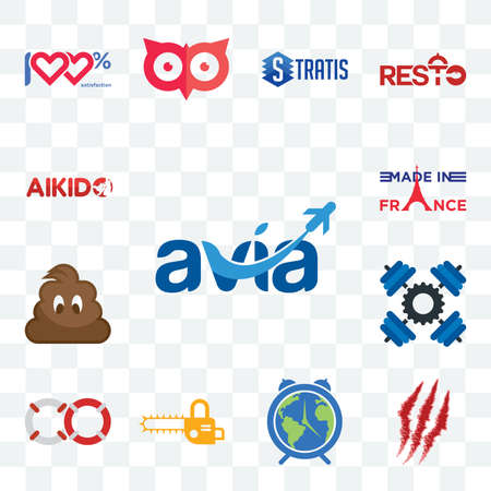 Set Of 13 transparent editable icons such as avia, claw mark, earth hour, chainsaw, life preserver, , poop, made in france, aikido, web ui icon pack Illusztráció