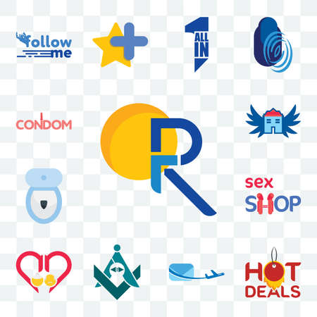 Set Of 13 transparent editable icons such as pr, hot deals, air mail, freemasons, senior care, sex shop, toilet bowl, house with wings, condom, web ui icon pack Stock fotó - 151579233