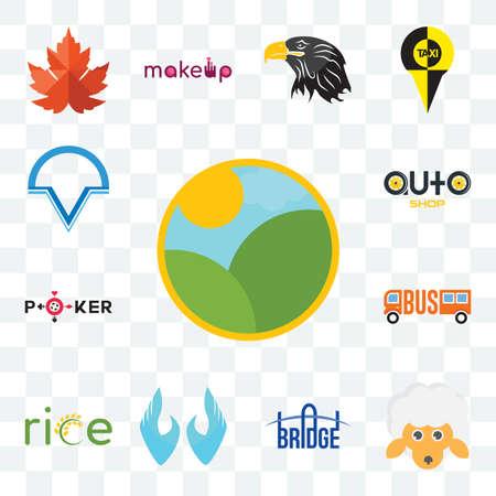 Set Of 13 transparent editable icons such as farm, , bridge, two hands, auto shop, v circle, web ui icon pack