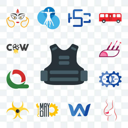 Set Of 13 transparent editable icons such as body armor, gynaecologist, a & w, mayday, biohazard, devops, quiznos, makeup artist, cow, web ui icon pack