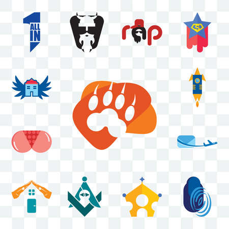 Set Of 13 transparent editable icons such as lion paw, thumbprint, royal family, freemasons, realestate, air mail, ass, stellar, house with wings, web ui icon pack Ilustracja