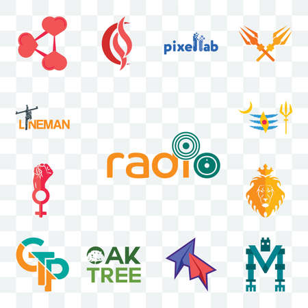 Set Of 13 transparent editable icons such as, mech, telegram, oaktree, gtp, judah and the lion, women empowerment, mahadev, lineman, web ui icon pack Ilustracja