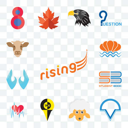 Set Of 13 transparent editable icons such as rising, v circle, , heartbeat, student book, two hands, sea shell, cow head, web ui icon pack