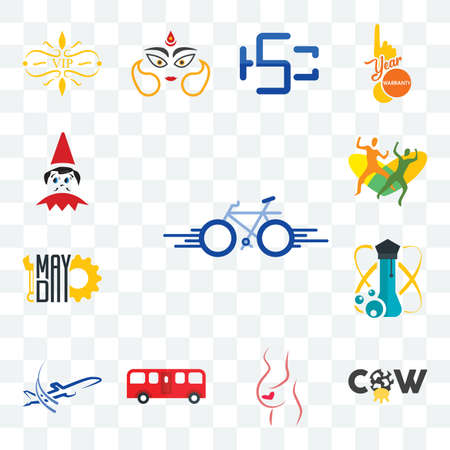 Set Of 13 transparent editable icons such as bike, cow, gynaecologist, bus, dreamliner, science, mayday, , elf on the shelf, web ui icon pack