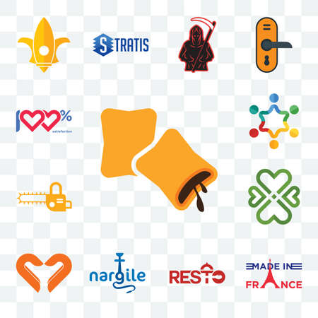Set Of 13 transparent editable icons such as krave, made in france, resto, nargile, handicraft company, four  hearts, chainsaw, peoples, 100 satisfaction, web ui icon pack Illusztráció