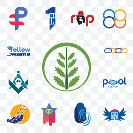 Set Of 13 transparent editable icons such as fern, house with wings, thumbprint, superstar, lawn mower, pool service, freemasons, supply chain, follow me, web ui icon pack Ilustracja