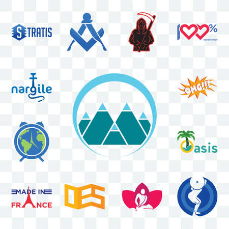 Set Of 13 transparent editable icons such as mont, squat, massage therapist, oes, made in france, oasis, earth hour, omg, nargile, web ui icon pack Stock fotó - 151579349