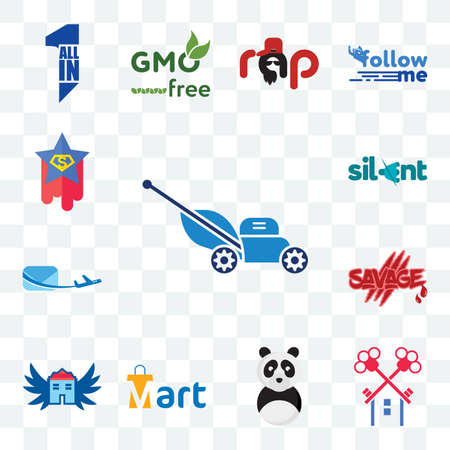 Set Of 13 transparent editable icons such as mower, , panda mascot, mart, house with wings, savage, air mail, silent, superstar, web ui icon pack