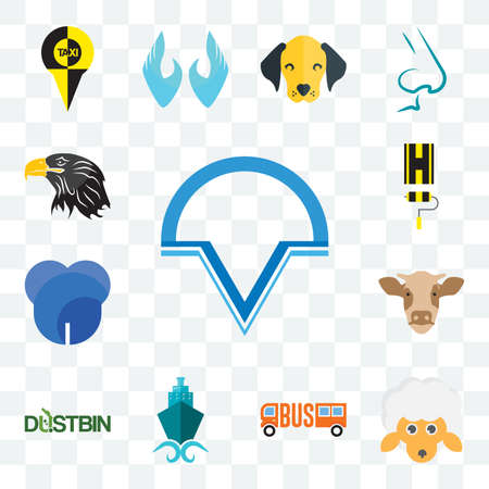 Set Of 13 transparent editable icons such as v circle, , shipping company, dustbin, cow head, dent, highway, eagle web ui icon pack Illusztráció