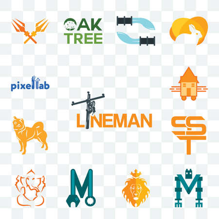 Set Of 13 transparent editable icons such as lineman, mech, judah and the lion, photo mechanic, ganesh ji, sst, shiba inu, tiny house, pixellab, web ui icon pack Illusztráció