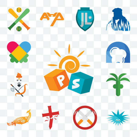 Set Of 13 transparent editable icons such as pre school, urchin, non smoking, antichrist, golden peacock, church, brahmin, d dentist, autism, web ui icon pack Ilustracja