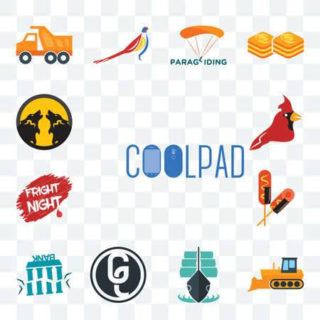 Set Of 13 transparent editable icons such as coolpad, dozer, tall ship, ge white, fake bank, corn dog, fright night, cardinal bird, pack wolf, web ui icon Stock fotó - 151579377