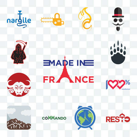 Set Of 13 transparent editable icons such as made in france, resto, earth hour, commando, sierra, 100 satisfaction, buffalo brand, grizzly claw, grim reaper, web ui icon pack