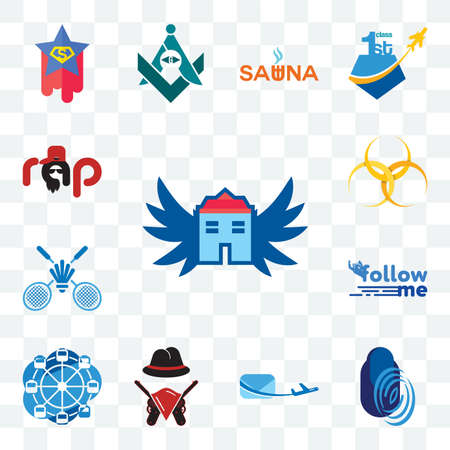 Set Of 13 transparent editable icons such as house with wings, thumbprint, air mail, outlaws, ferris wheel, follow me, badminton club, hazardous waste, rap, web ui icon pack Stock fotó - 151579427