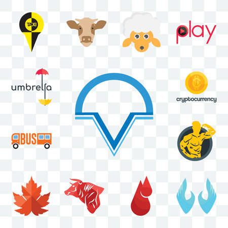 Set Of 13 transparent editable icons such as v circle, two hands, blood drop, bull, maple leaf, muscle man, , cryptocurrency, umbrella, web ui icon pack Illusztráció