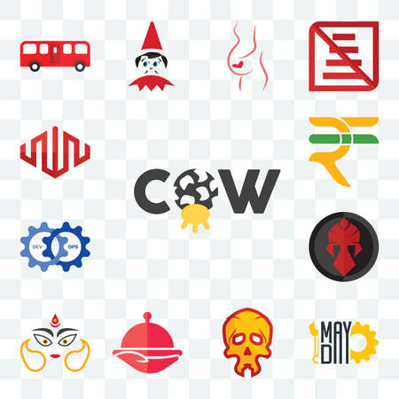 Set Of 13 transparent editable icons such as cow, mayday, skull, foodora, durga, spartan, devops, rupees, equinix, web ui icon pack