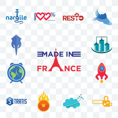 Set Of 13 transparent editable icons such as made in france, chainsaw, nervous system, o fire, stratis, rocketship, earth hour, silo, stingray, web ui icon pack