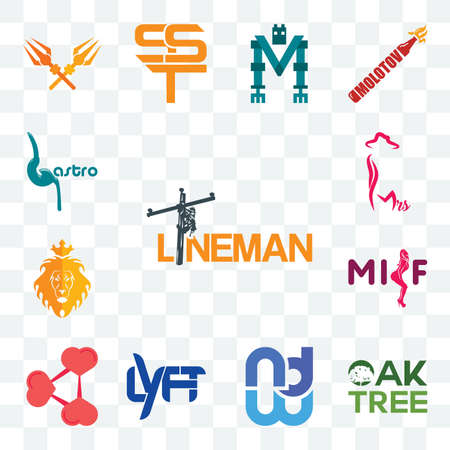 Set Of 13 transparent editable icons such as lineman, oaktree, wnd, lyft, share png, milf, judah and the lion, mrs, gastro, web ui icon pack Stock fotó - 151579456
