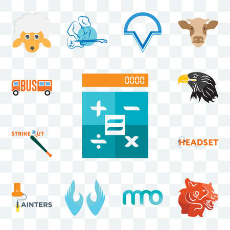 Set Of 13 transparent editable icons such as calculator, bear head, 3 letter, two hands, painters, headset, strike out, eagle, web ui icon pack Stock fotó - 151579457