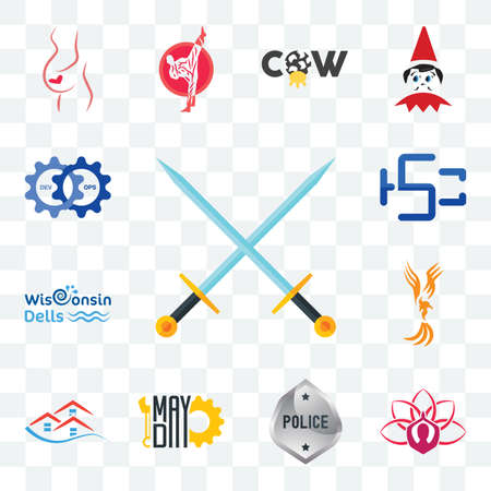 Set Of 13 transparent editable icons such as excalibur, lotus, generic police, mayday, emlak, anka, wisconsin dells, hsc, devops, web ui icon pack Stock fotó - 151579460