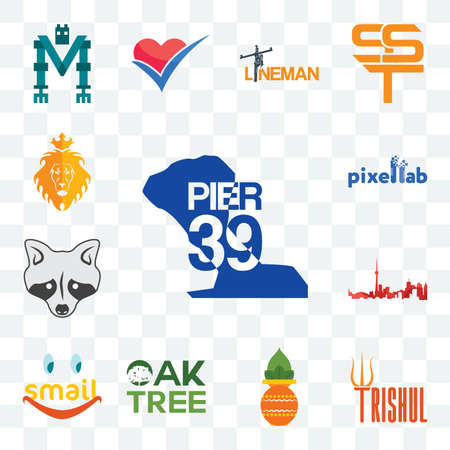 Set Of 13 transparent editable icons such as pier 39, trishul, kalash, oaktree, smail, toronto skyline, tanuki, pixellab, judah and the lion, web ui icon pack Illusztráció
