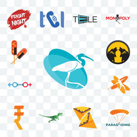 Set Of 13 transparent editable icons such as egret, paragliding, crepe, velociraptor, rupee, javelin, sex store, pack wolf, corn dog, web ui icon Ilustracja