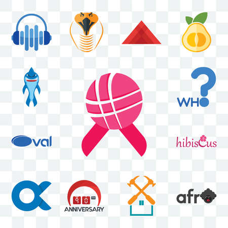 Set Of 13 transparent editable icons such as world cancer day, afro, property maintenance, 90th anniversary, , hibiscus, oval, who, shark mascot, web ui icon pack Stock fotó - 151579494