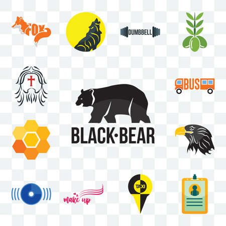 Set Of 13 transparent editable icons such as black bear, id card, , make up, disk, eagle head, honeycomb, web ui icon pack