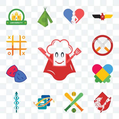 Set Of 13 transparent editable icons such as super chef, minotaur, fantasy baseball, bookkeeping, mbbs, autism, drama club, non smoking, tic tac toe, web ui icon pack Illustration