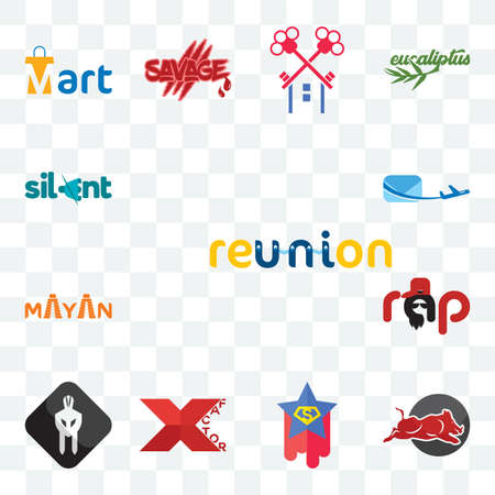 Set Of 13 transparent editable icons such as reunion, wild hog, superstar, xfactor, white spartan, rap, mayan, air mail, silent, web ui icon pack