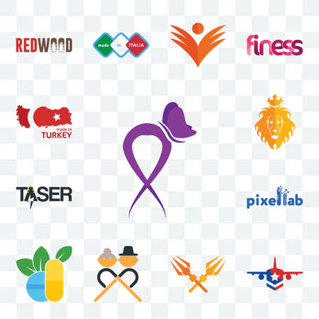 Set Of 13 transparent editable icons such as lupus, honor flight, trishul, senior citizen, homoeopathy, pixellab, taser, judah and the lion, made in turkey, web ui icon pack Illusztráció