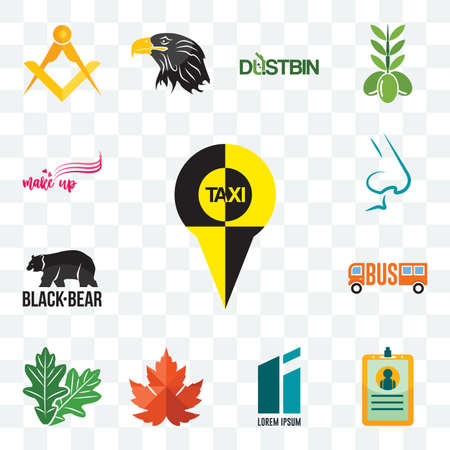 Set Of 13 transparent editable icons such as, id card, lorem ipsum, maple leaf, oak black bear, nose, make up, web ui icon pack