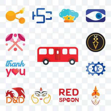 Set Of 13 transparent editable icons such as bus, hanuman ji, spoon on its, durga, dungeons and dragons, devops, thank you, luxury, makeup, web ui icon pack