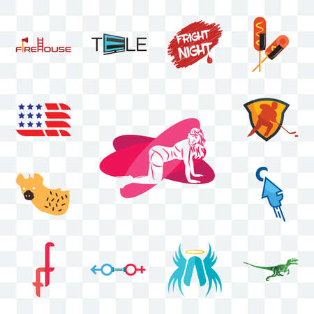 Set Of 13 transparent editable icons such as pinup, velociraptor, archangel, sex store, double f, fastclick, hyena, power play hockey, american flag, web ui icon pack