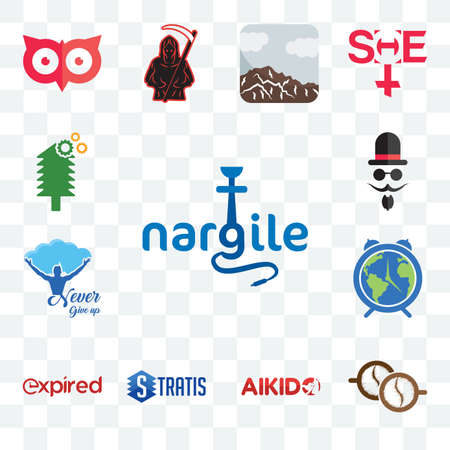 Set Of 13 transparent editable icons such as nargile, cofee, aikido, stratis, expi, earth hour, never give up, mister, simple tree service, web ui icon pack Stock fotó - 151579545