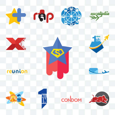 Set Of 13 transparent editable icons such as superstar, wild hog, condom, all in one, childcare, air mail, reunion, , xfactor, web ui icon pack