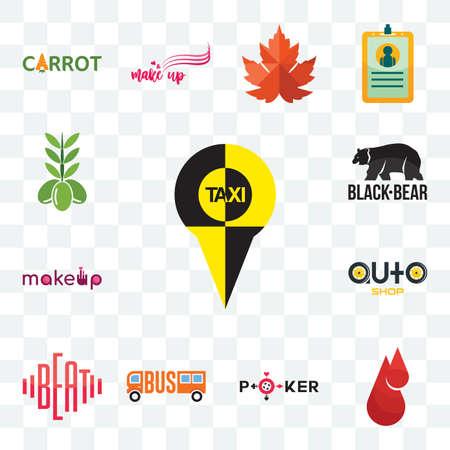 Set Of 13 transparent editable icons such as, blood drop, beat, auto shop, black bear, olive, web ui icon pack Stock fotó - 151579554