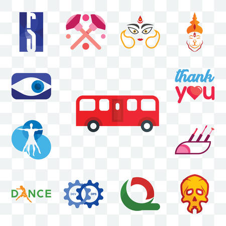 Set Of 13 transparent editable icons such as bus, skull, quiznos, devops, dance, makeup artist, vitruvian man, thank you, neighborhood watch, web ui icon pack Illusztráció