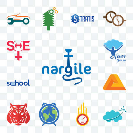 Set Of 13 transparent editable icons such as nargile, nervous system, odometer, earth hour, tiger, penrose, school, never give up, she, web ui icon pack 矢量图像