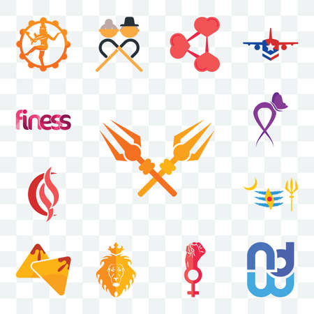 Set Of 13 transparent editable icons such as trishul, wnd, women empowerment, judah and the lion, samosa, mahadev, scs, lupus, finess, web ui icon pack