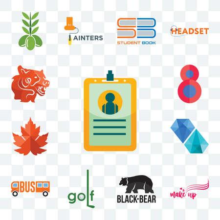Set Of 13 transparent editable icons such as id card, make up, black bear, golf, , diamond, maple leaf, number 8, bear head, web ui icon pack Ilustracja