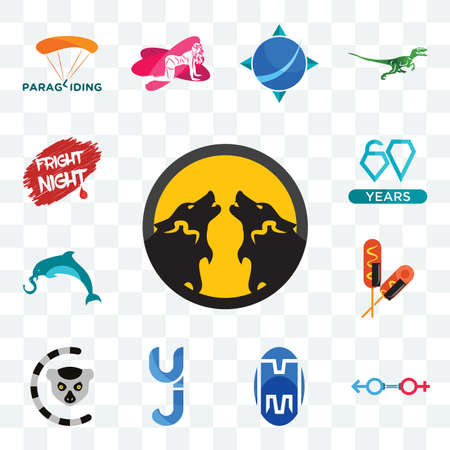 Set Of 13 transparent editable icons such as pack wolf, sex store, double m, yj, lemur, corn dog, elephand dolphin, diamond jubilee, fright night, web ui icon 向量圖像