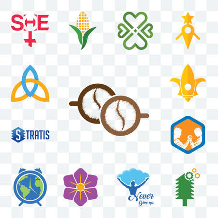 Set Of 13 transparent editable icons such as cofee, simple tree service, never give up, saffron, earth hour, arm wrestling, stratis, lis, holy trinity, web ui icon pack Stock fotó - 151579636