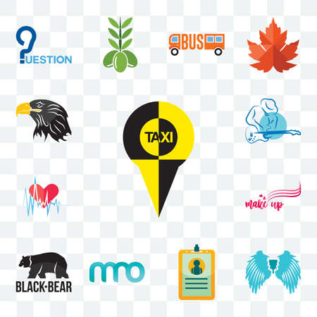Set Of 13 transparent editable icons such as, angel wing, id card, 3 letter, black bear, make up, heartbeat, s music, eagle head, web ui icon pack
