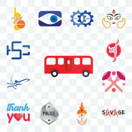 Set Of 13 transparent editable icons such as bus, savage, hanuman ji, generic police, thank you, makeup, dreamliner, karate, hsc, web ui icon pack Ilustracja