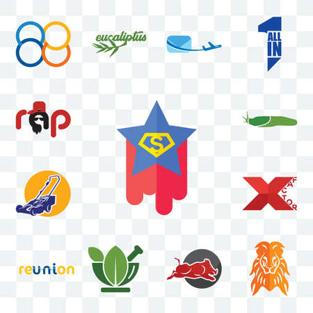 Set Of 13 transparent editable icons such as superstar, orange lion, wild hog, ayurvedic, reunion, xfactor, lawn mower, slug, rap, web ui icon pack