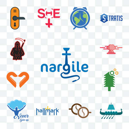 Set Of 13 transparent editable icons such as nargile, viking ship, cofee, hallmark, never give up, simple tree service, handicraft company, catering, grim reaper, web ui icon pack 向量圖像