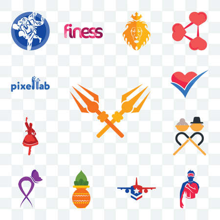 Set Of 13 transparent editable icons such as trishul, generic superhero, honor flight, kalash, lupus, senior citizen, polish dancer, healthier choice, pixellab, web ui icon pack