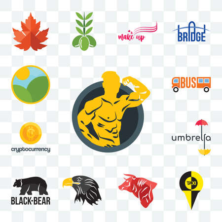Set Of 13 transparent editable icons such as muscle man, , bull, eagle head, black bear, umbrella, cryptocurrency, farm, web ui icon pack Stock fotó - 151579707