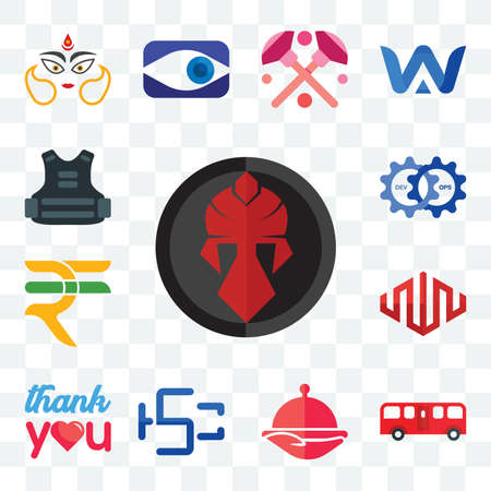 Set Of 13 transparent editable icons such as spartan, bus, foodora, hsc, thank you, equinix, rupees, devops, body armor, web ui icon pack Illusztráció